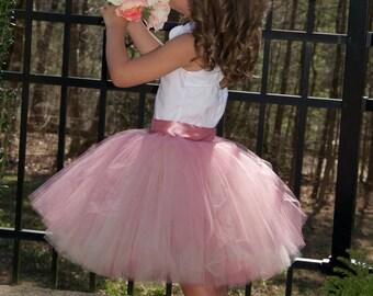 SEWN Tulle skirt, flower girl tutu,Soft Tulle tutu, Flower Girls tutu CUSTOM sewn tutus