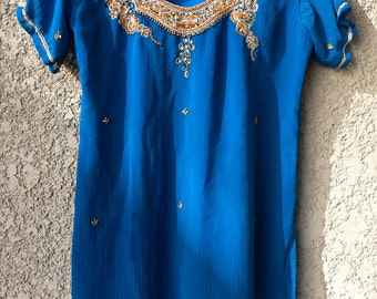 Blue Indian style top