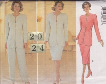 Easy Collarless Suit Jacket, Skirt, Pants/ Butterick 3313 Womens office, Mother Bride evening suit UnCut Sewing Pattern/ Plus Size 20 22 24