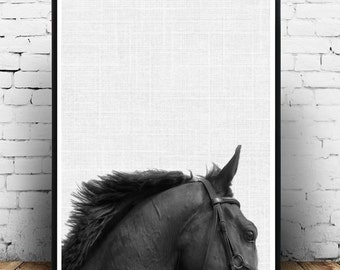 Horse Print, Horse Photo, Printable Art, Black And White Horse, Minimalist Poster,  Horse Art, Wall Decor, Wall Art, Instant Download