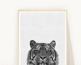 Tiger Print, Tiger Art, Printable Art, Black And White Tiger, Textured, Wall Decor, Grey Wall Art, Instant Download