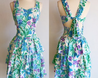 All That Jazz, 80s Prom, Floral, Vintage Day Dress // 1980s, White, Blue, Green, Purple Print, Women Size Small, Medium