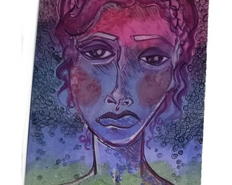 "Rainbow Lady Original Watercolor & Gouache 8"" x 12"""