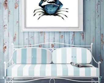 Blue crab painting, nautical decal, watercolor paintings