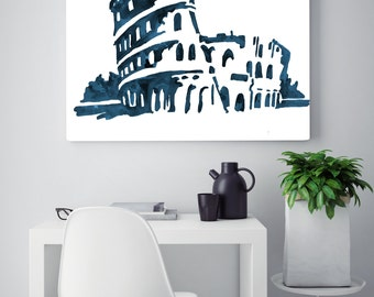 Colosseum painting, Rome colosseum, Roman art and architecture, travel watercolor