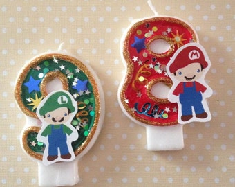 Nintendo Super Mario Brothers Birthday Party Number Candle