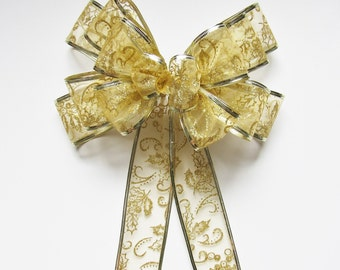 Glitter Wired Bow - Gold - Wired Bow - 14 Loops