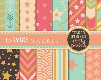 Pastel Digital Paper, Mint Pink Gold, Birthday Printable, Scrapbooking Paper, Instant Download, Star Paper, Arrow Pattern Paper