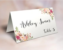 Printable FOLDABLE BLANK Place Cards, Blank TENT card Blank seating cards, Printable Escort Cards, Reception Place Cards, wedding gifts card
