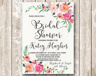 Printable Bridal Shower Invitation, Gentle Bloom Bridal Shower Digital Files, Floral  Bridal Shower, Bridal Shower DIY Wedding - GBF-31