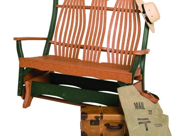 Recycled Poly Bentwood Lumber Double Porch Glider Chair with Arms - Standard Colors - Handmade - Custom - Amish Made in USA
