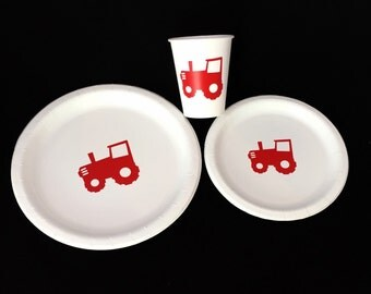 Tractor Party Pack - Farm Party - Outdoor Theme - Tractor Pull - Cowboy Baby Shower - Tractor Cups - Barnyard Party - Heavy Machinery Decor
