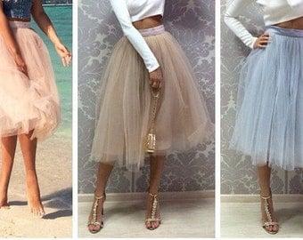 Beige turquoise blue peach Tulle Skirt - Blue skirt - hen party skirt - matching outfit - Tea Length skirt - tutu Midi Skirt - Custom order