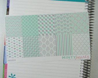 FBED0059 // Mint & Gray Full Box Planner Stickers