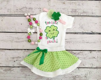 Girls St Patrick's Day outfit - baby girl St Patrick's day outfit - girls clover outfit - too cute to pinch - embroidered shirt