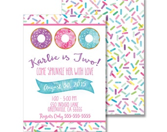 Donut Birthday Invitation (front and back) - 5x7 Customized Printable modern watercolor doughnut sprinkle fun sweetshop sweets preppy pink