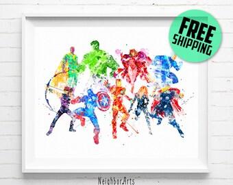 Avengers print, Superhero print, Avengers poster, Captain America, Iron Man, Hulk, Thor, Widow art print, abstract, wall art, kids Decor 120