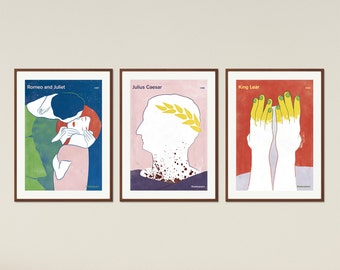 Shakespeare set of large literary book cover posters, literary gift, classic literature, gift librarian, bookish gift, Instant Download