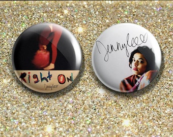 Jenny Lee RIGHT ON! Pinback Buttons - 2 Sizes and Styles Available (also available in sets).