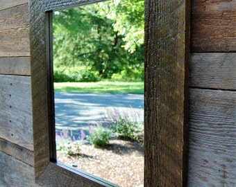 Reclaimed Wood Mirror- From Century old Barn wood- Free Shipping!