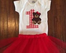 Teddy Bear Onesie or Tshirt with option to add a tutu!