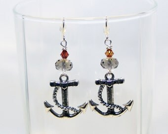 Anchor Charm Earrings - Nautical Earrings