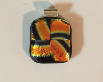 "Dichroic ""Sacred Spirit"" fused glass & 925 sterling silver pendant on cotton necklace or silver chain"