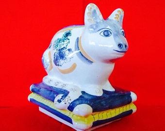 PORTUGUESE FOLK ART Hand Painted Cat Vintage Signed Ceramic
