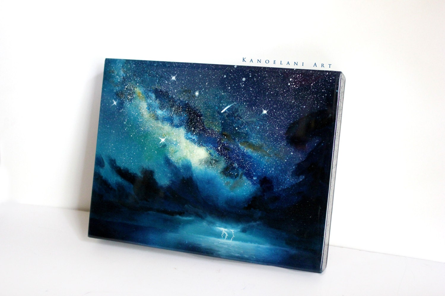 Oil painting milky way space art wall art spray paint for Wall spray painting designs