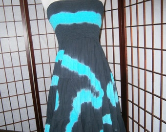 Strapless Sundress - Tye Dye Effect - Turquoise and Black