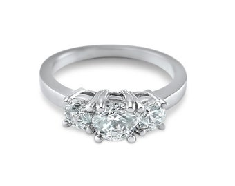 3 stone Moissanite,  engagement ring, Forever ONE , Moissanite, 3 Stone ,  1 CTW 14K White Gold, engagement, bridal, wedding