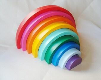 "Large Rainbow stacker 12"" x 7"". Wood rainbow. Wood rainbow sorting toy. Montessori toys"