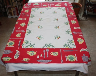 Cool Retro Kitchen-themed Printed Cotton Tablecloth