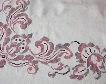 Pretty Pink Counted Cross Stitched Linen Tablecloth