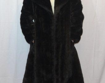 Vintage Tissavel Simulation Fur Coat/ Faux Fur Coat/ Dark Brown Faux Fur Knee-Length Coat/ Tissavel Jacket
