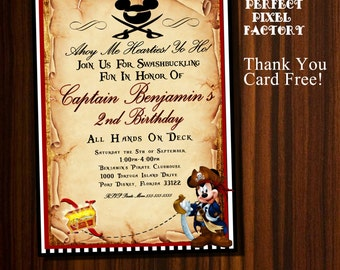 Mickey Mouse invitation, Mickey Pirate invitation, Pirate Mickey, Pirate Invitation, Mickey Mouse Birthday,Pirate Mickey Birthday, Mickey