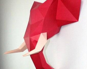 Elephant Paper trophy DIY KIT. Customize the colors!