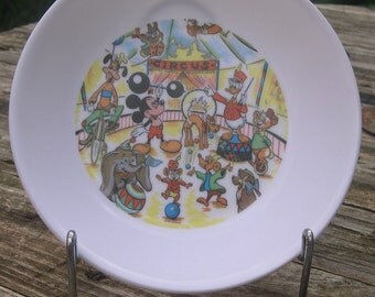 Plate Ornamine WALT DISNEY 1960 Vintage Rare Circus Circus Donald Duck Dumbo French 60s 70 Mickey toy old Melamine Plate