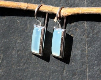 Blue Chalcedony & Sterling Silver Earrings - #29