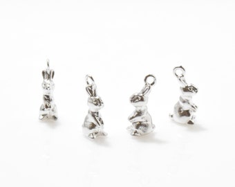 Rabbit Pendant . Rabbit Charm . Bunny Pendant . Bunny Charm . Matte Rhodium Plated over Pewter - 4pcs / IA0125-MR