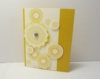 Yellow Spiral Birthday Card