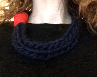 Necklace Combo -  Merino wool midnight blue, red shutting - technical fingerknitting -Soft necklace wool