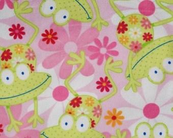 Happy Frog Print Flannel Baby Blanket
