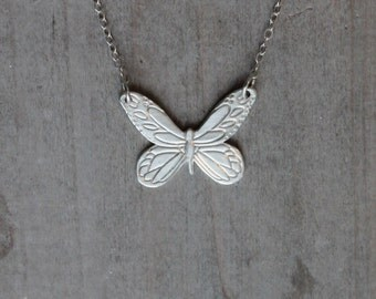 Fine silver Butterfly - sterling silver necklace