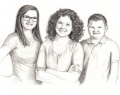 3 Person Custom Pencil Portrait Drawing from Photo - Family Portrait Drawing Graphite Sketch from Photo - Custom Dawing - mother gift