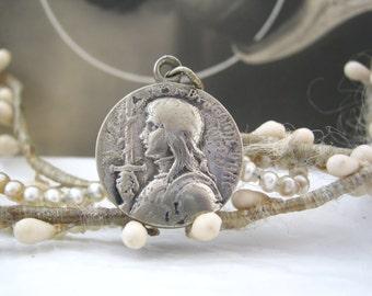 Saint Joan of Arc -  Antique French Religious Medal Pendant