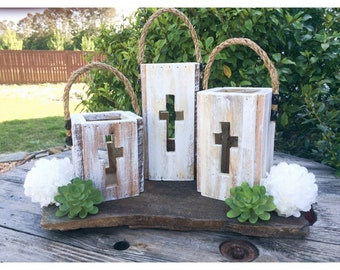 Rustic Cross Lanterns,Wedding Centerpieces,Wedding gift,Rustic wedding table,Sister gift, godparents gift,mothers day gift,easter decor