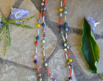 Paper Bead Necklace (Multi-Color)