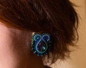 Blue clip on earrings , beads bijoux , made in Latvia handmade earrings , glass crystal clips , cadeaus voor jubileum