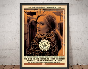 Adele Poster - Quote Retro Music Poster - Music Print, Wall Art